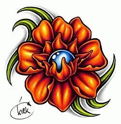 Эскиз татуировочных цветов.