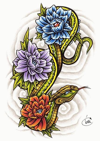 """змея в цветах - Эскизы -  """"Эллит тату """" - татуировки..."""