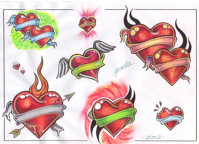 эскизы татуировок сердце: